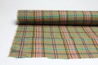 綿麻ダークカラフルチェック手もみ   巾110cm