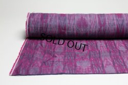 画像1: 綿麻絣調ジャガード マゼンダ   巾110cm