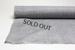 画像1: 綿麻チェック手もみ グレー   巾110cm