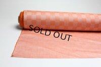 綿麻市松 オレンジ   巾110cm