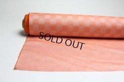 画像1: 綿麻市松 オレンジ   巾110cm