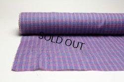 画像1: 綿麻チェック手もみ ブルーピンク   巾110cm