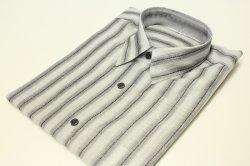 画像1: 綿麻ストライプシャツグレー
