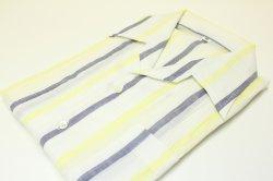 画像1: 本麻スポーツシャツ イエローストライプ