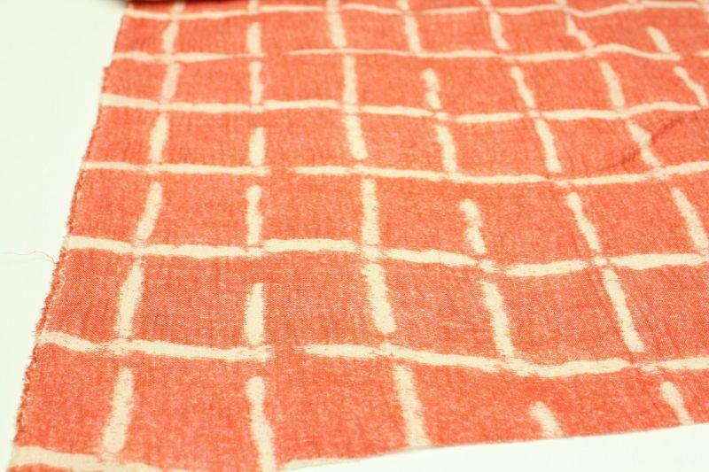 画像: リネン66番手 薄地 近江上布プリント柄 「赤ウィンドウペン」 幅115cmX長さ210cm