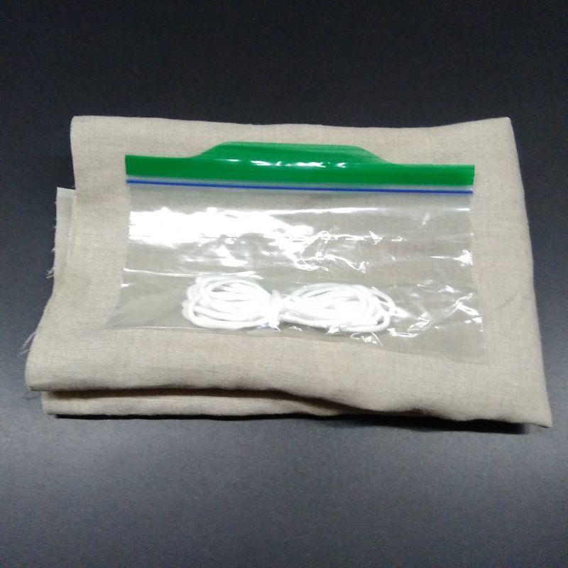 画像1: オーガニックリネン布マスク用ハンドメイドセット(4〜5枚分、生地+ゴム)